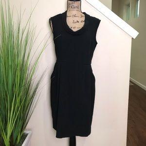 LOFT black dress, collar, exposed zipper, & cowl n